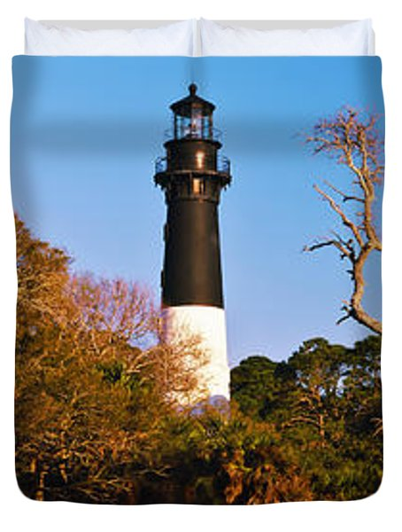 Trees Around A Lighthouse, Hunting Duvet Cover