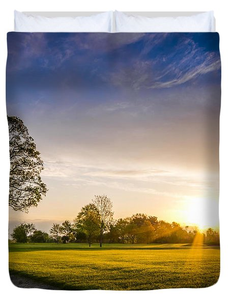 Trees At Dawn On Golf Course Duvet Cover