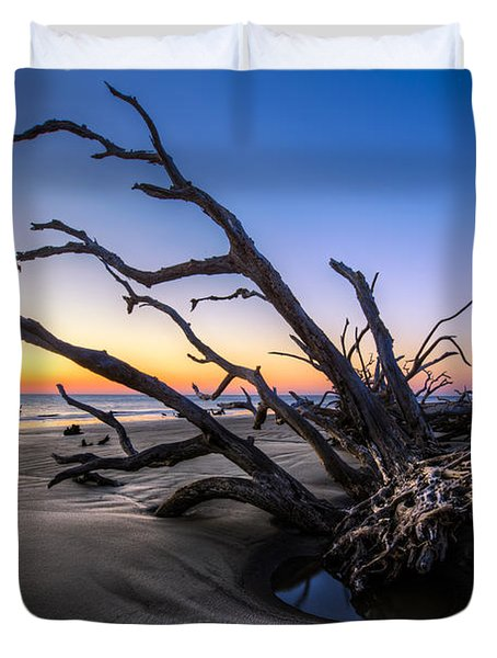 Trees At Driftwood Beach Duvet Cover by Debra and Dave Vanderlaan