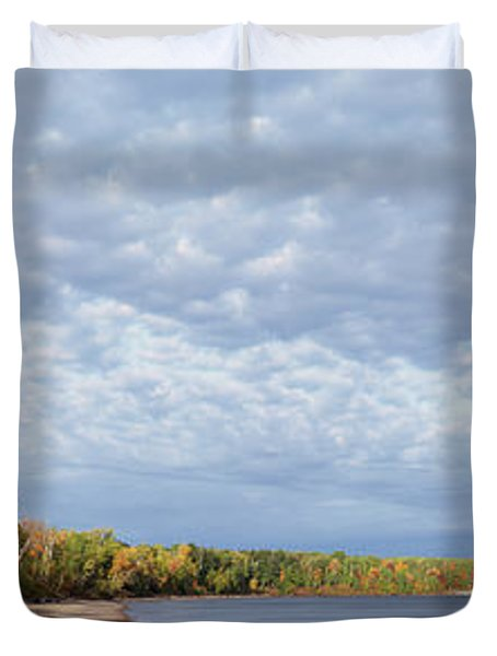 Trees At The Lakeside, Lake Superior Duvet Cover