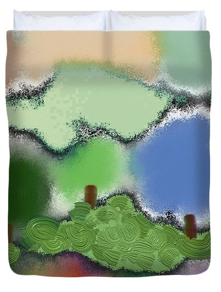 Trees Between Land And Sky Duvet Cover by Lenore Senior