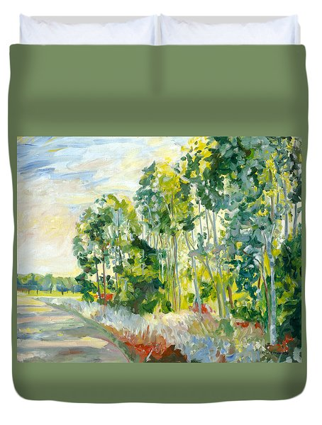 Trees By A Road Duvet Cover