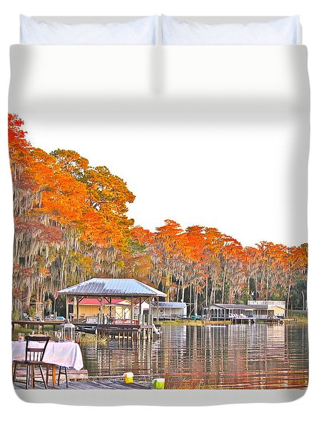 Duvet Cover featuring the photograph Trees By The Lake by Lorna Maza