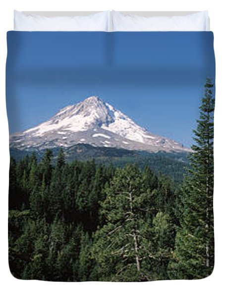 Trees In A Forest With Mountain Duvet Cover