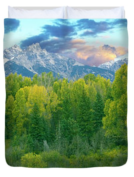Trees In A Forest With Mountain Peak Duvet Cover
