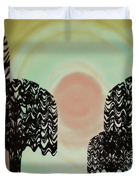 Trees Of Light Duvet Cover by Christine Fournier