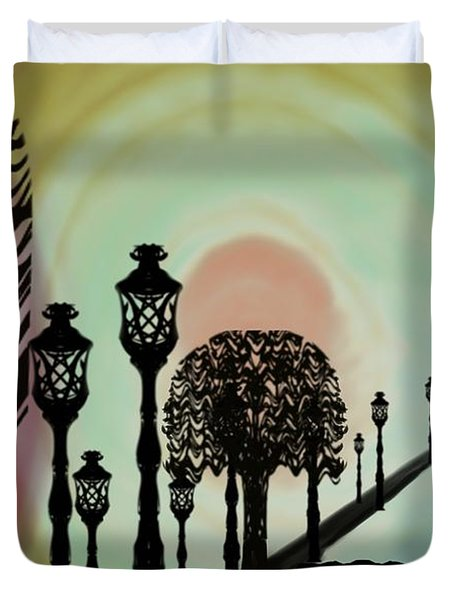 Trees Of Lights Duvet Cover by Christine Fournier