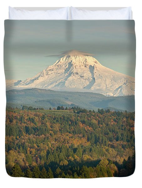 Trees On A Landscape With Mountain Duvet Cover