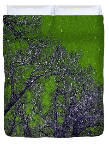 Trees On Green Sky Duvet Cover