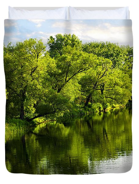 Trees Reflecting In River Duvet Cover by Elena Elisseeva