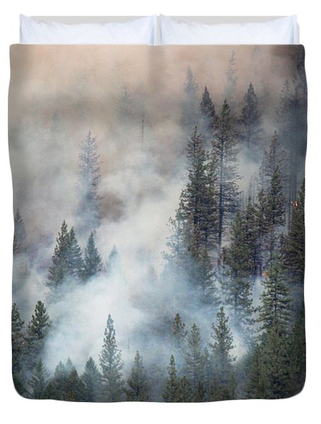 Duvet Cover featuring the photograph Beaver Fire Trees Swimming In Smoke by Bill Gabbert