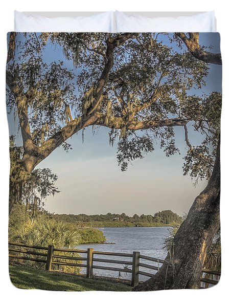 Duvet Cover featuring the photograph Trees With A View by Jane Luxton