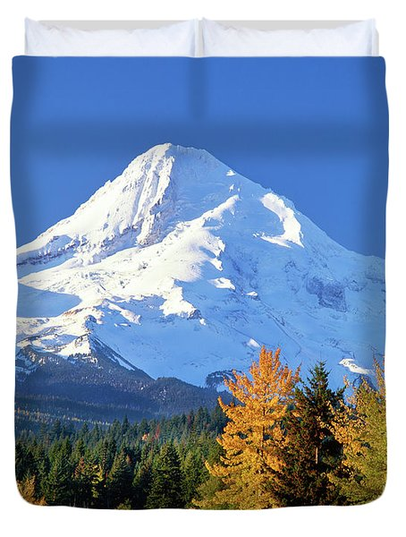Trees With Snowcapped Mountain Range Duvet Cover