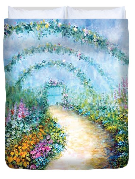 Duvet Cover featuring the painting Trellis II by Lynn Buettner