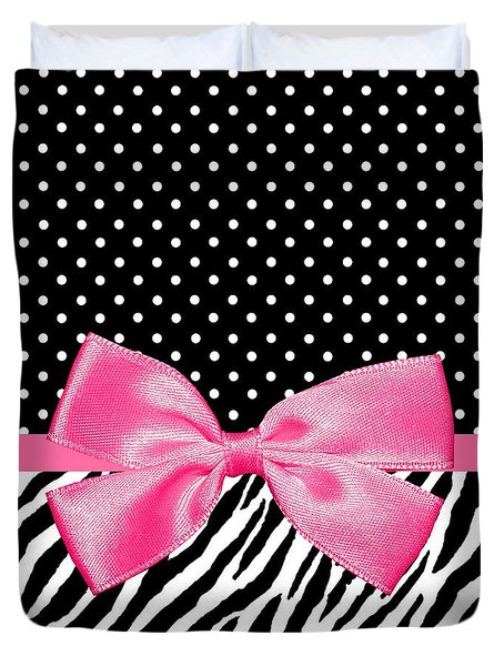 Trendy Zebra Print Pink Ribbon Duvet Cover