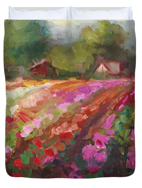Trespassing Dahlia Field Landscape Duvet Cover