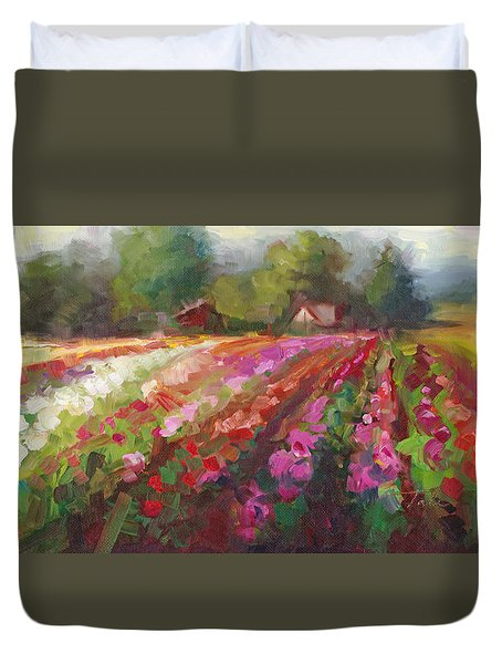 Duvet Cover featuring the painting Trespassing Dahlia Field Landscape by Talya Johnson