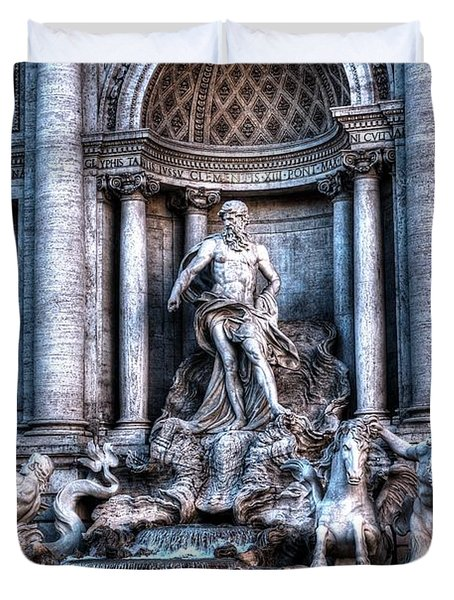 Duvet Cover featuring the photograph Trevi Fountain by Joe  Ng