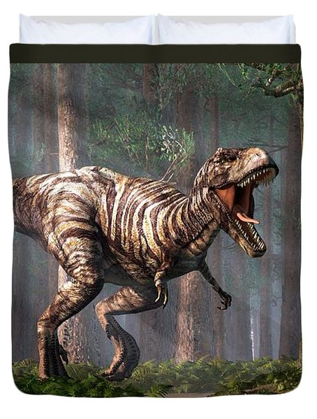 Trex In The Forest Duvet Cover