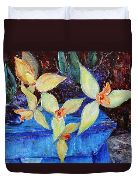 Duvet Cover featuring the painting Triangular Blossom by Xueling Zou