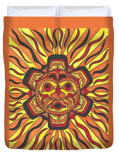 Tribal Sunface Mask Duvet Cover