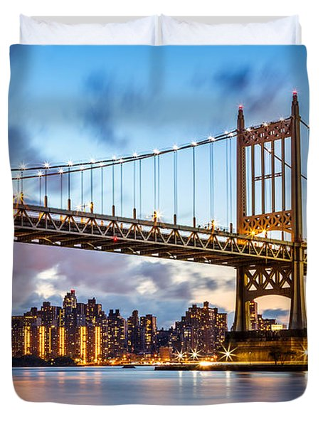 Triboro Bridge At Dusk Duvet Cover by Mihai Andritoiu
