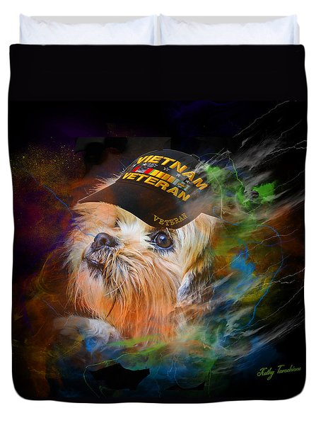 Duvet Cover featuring the digital art Tribute To Canine Veterans by Kathy Tarochione