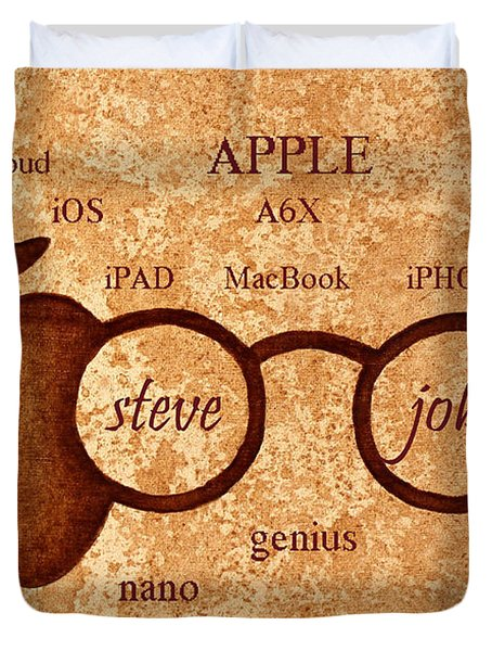 Tribute To Steve Jobs 2 Digital Art Duvet Cover by Georgeta  Blanaru