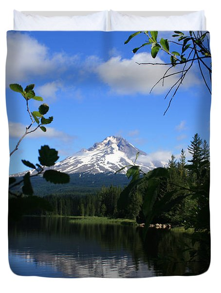 Duvet Cover featuring the photograph Trillium Lake With Mt. Hood  by Ian Donley