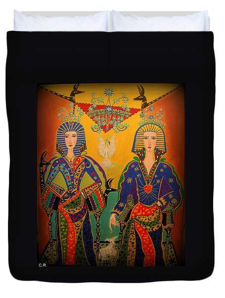 Duvet Cover featuring the painting Trinity by Marie Schwarzer