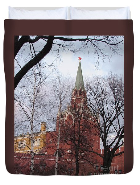 Trinity Tower At Dusk Duvet Cover by Anna Yurasovsky