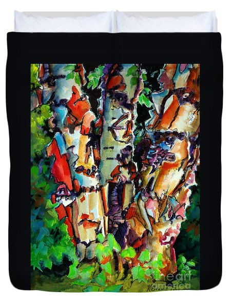 Duvet Cover featuring the painting Trio Birch 2014 by Kathy Braud