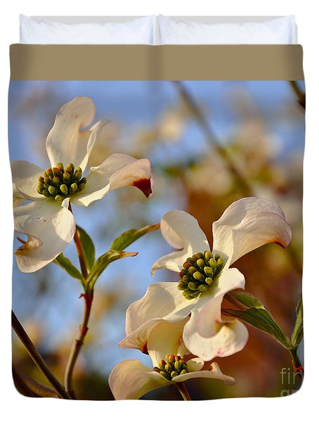 Duvet Cover featuring the photograph Trio Of Dogwood Blossoms by Debby Pueschel