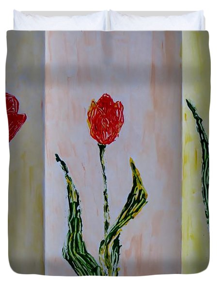 Trio Of  Red Tulips Duvet Cover by Sonali Gangane