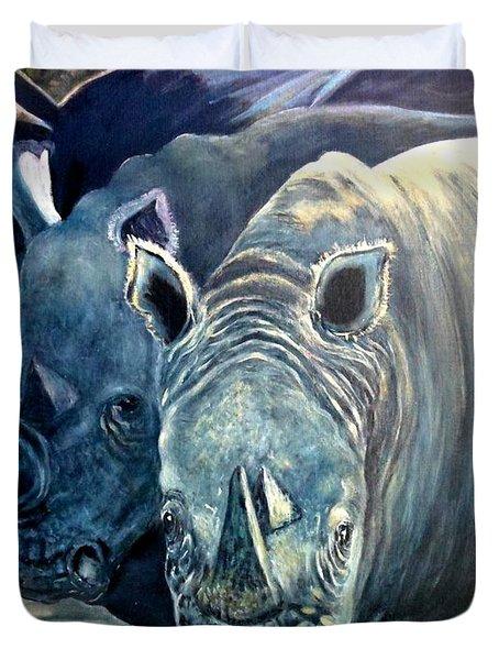 Trio Of Rhino Duvet Cover by Caroline Street