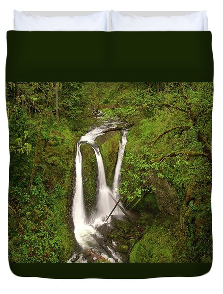 Triple Falls  Duvet Cover by Jeff Swan