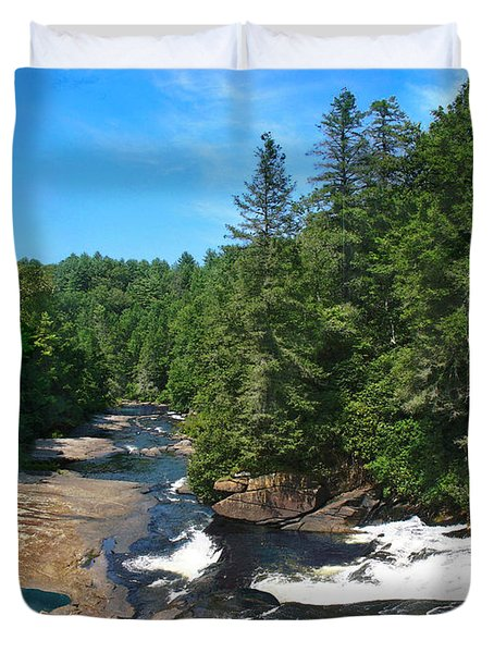 Triple Falls North Carolina Duvet Cover