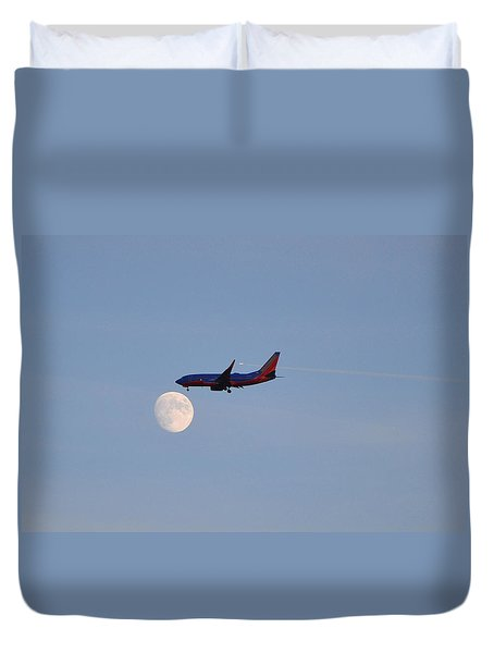 Southwest Airlines Flies To The Moon Duvet Cover by Kelly Reber