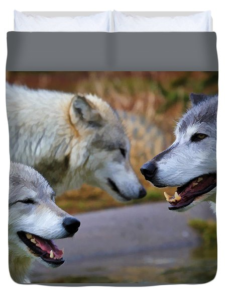 Triple Take Painted Duvet Cover by Athena Mckinzie