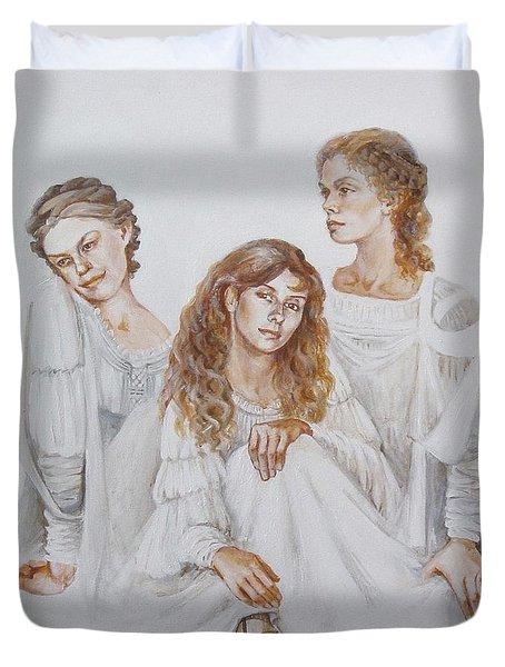 Duvet Cover featuring the painting Trois by Marina Gnetetsky