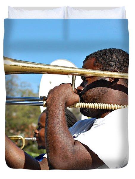 Trombone Man Duvet Cover by Steve Harrington