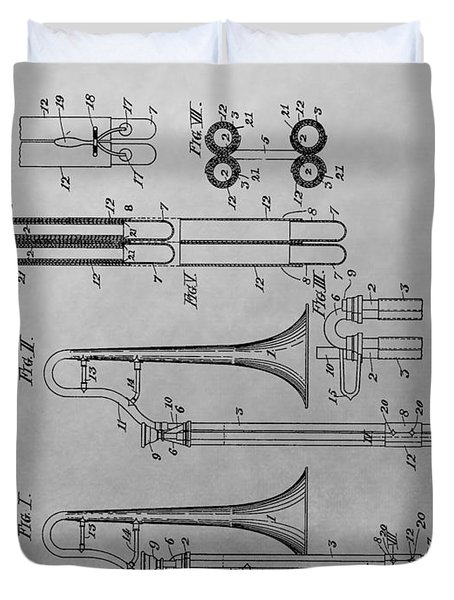 Trombone Patent Drawing Duvet Cover