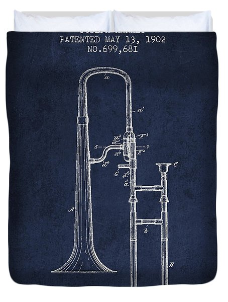 Trombone Patent From 1902 - Blue Duvet Cover by Aged Pixel