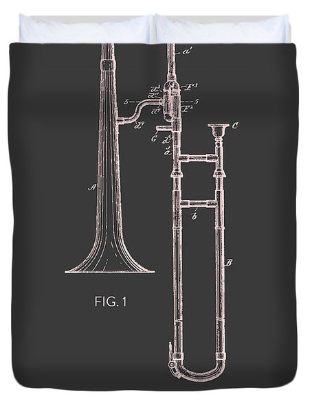 Trombone Patent From 1902 - Modern Gray Salmon Duvet Cover by Aged Pixel