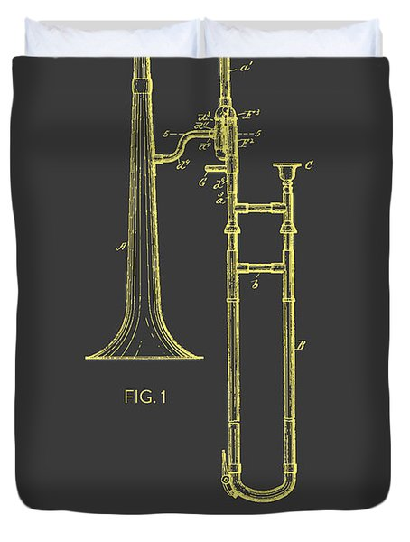 Trombone Patent From 1902 - Modern Gray Yellow Duvet Cover by Aged Pixel