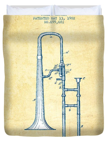 Trombone Patent From 1902 - Vintage Paper Duvet Cover by Aged Pixel