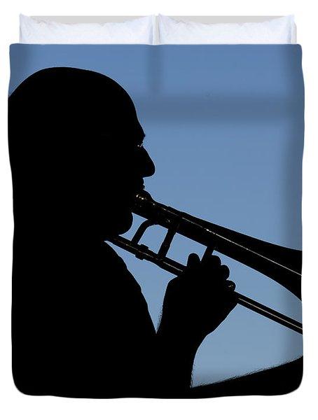 Trombone Player Duvet Cover