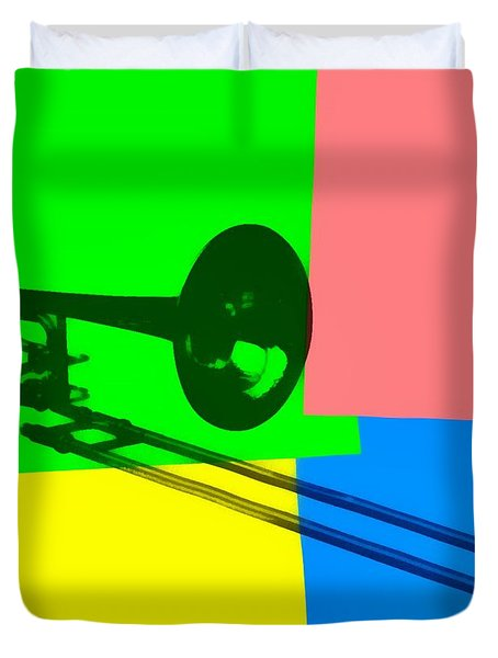 Trombone Pop Art Duvet Cover by Dan Sproul