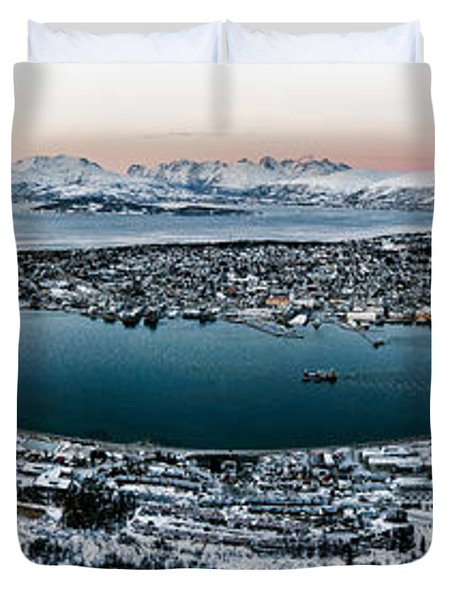 Tromso From The Mountains Duvet Cover by Dave Bowman