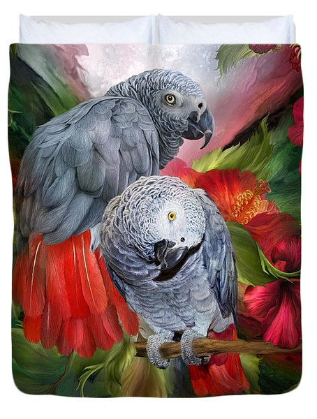 Tropic Spirits - African Greys Duvet Cover